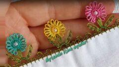 İnci Çiçekli Kolay Oya Modeli