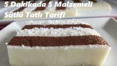 5 Dakikada 5 Malzemeli Sütlü Tatlı Tarifi