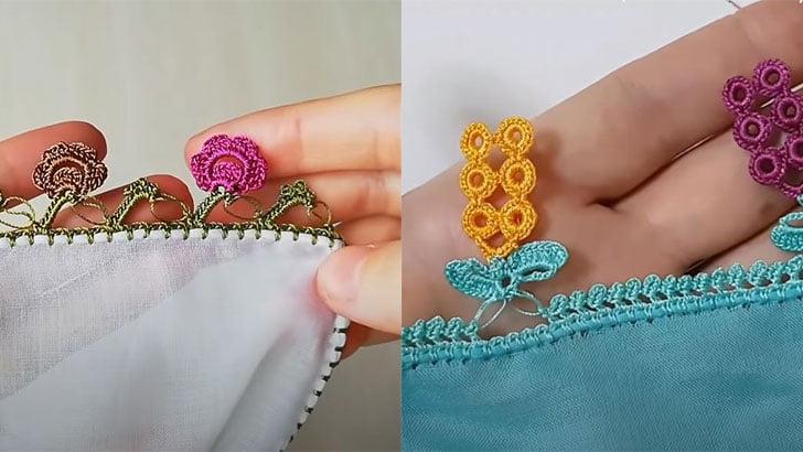 Üzümlü Çiçekli Tığ Oyası Modelleri 1