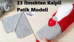 23 İlmekten Kalpli Patik Modeli