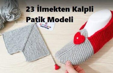 23 İlmekten Kalpli Patik Modeli 1